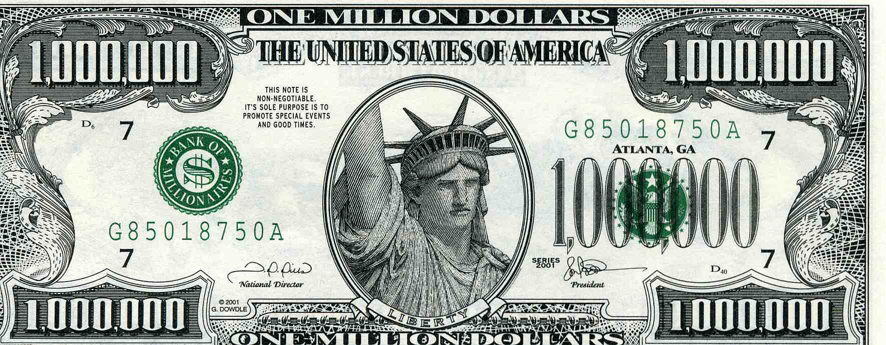 ... of people i... $1000000 Bill