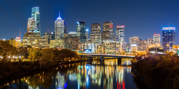 Philadelphia cityscape panorama by night