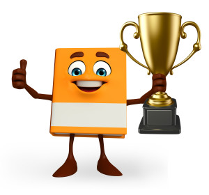 Cartoon Character of Book with trophy